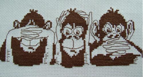 Trzy małpki : nie widzę zła, nie słyszę zła, nie mówię zła.