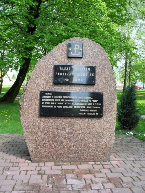 KOLUSZKI, PARK. OBELISK POŚWIĘCONY ŻOŁNIERZOM VI ODDZIAŁU PARTYZANCKIEGO AK DOWODZONEGO PRZEZ por. SAMA #por #Sam #RomualdZiółkowskiSam #AkcjaBurza #ObwódAK #Brzeziny #Koluszki #pomnik #foto #zdjęcie